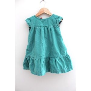 • MINI BODEN TODDLER GREEN FLORAL DRESS SZ 3 •
